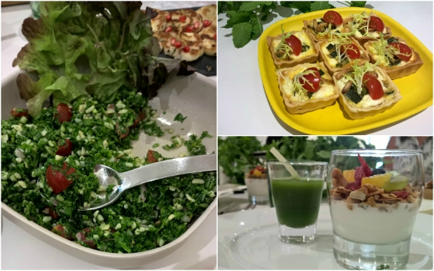 Kale Salad, Paleo Granola and a Super Green shot (Kale, apple, cucumbber, ginger), Mini Quiche