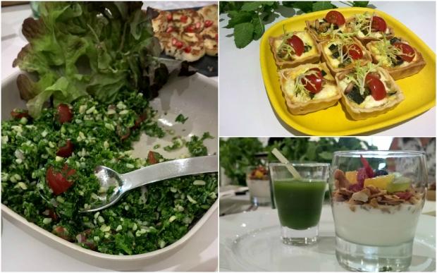 Kale Salad, Paleo Granola and a Super Green shot (Kale, apple, cucumbber, ginger), Mini Quiche