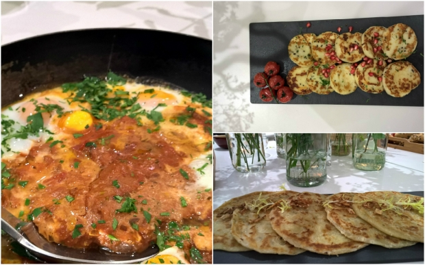 Shakshooka, Grilled Halloumi and pomegranate and Aloo Paratha