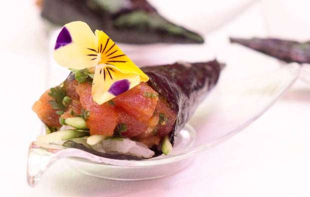 Seattle Spicy Tuna Roll with edible flowers