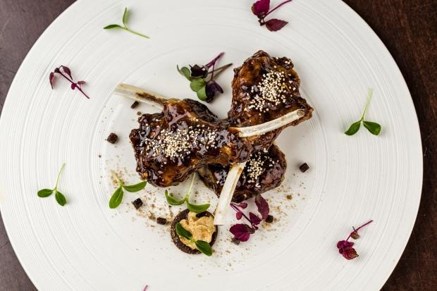 Braised Lamb Chops, Aam Papad chutney, churan fleur de sel