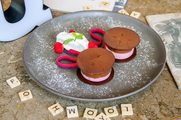 Frozen chocolate & raspberry mousse